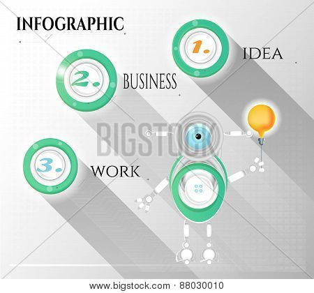 Modern, abstract infographic with numbers, text, light bulb, robot, design template