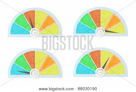 Set, collection of isolated, colorful - blue, yellow, red, orange, green - pie charts, diagrams