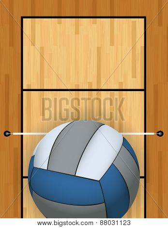 A vertically oriented aerial view of a volleyball and court background illustration. Vector EPS 10 available. poster