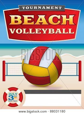 Beach Volleyball Tournament Flyer Illustration