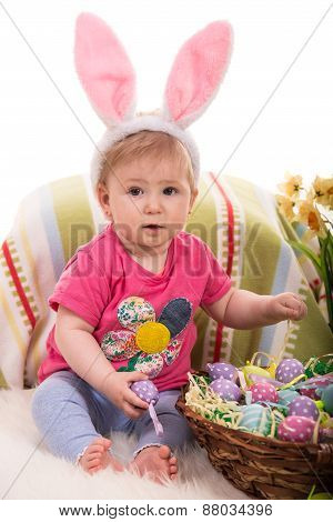 Beauty Easter Baby With Eggs