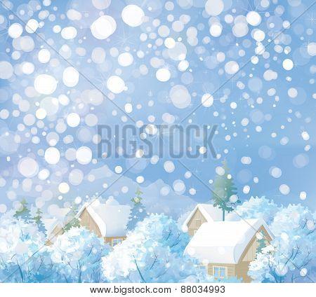 Vector winter, snow,  wonderland city scape scene.