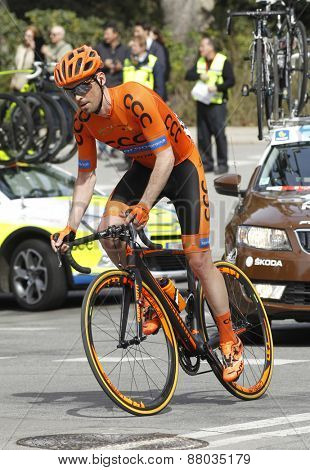 BARCELONA - MARCH 29: Marek Rutkiewicz of CCC-Polsat-Polkowice Team rides during the Tour of Catalonia cycling race through the streets of Monjuich mountain in Barcelona on March 29, 2015