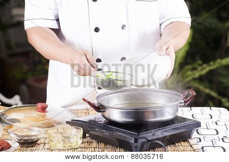 Chef Scald Vegetable In Pot Before Cooking Noodle