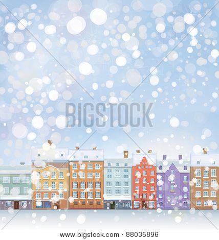 Vector  winter  snow wonderland city scape scene.