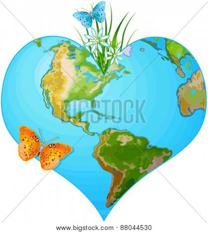 Illustration of earth in the form of heart