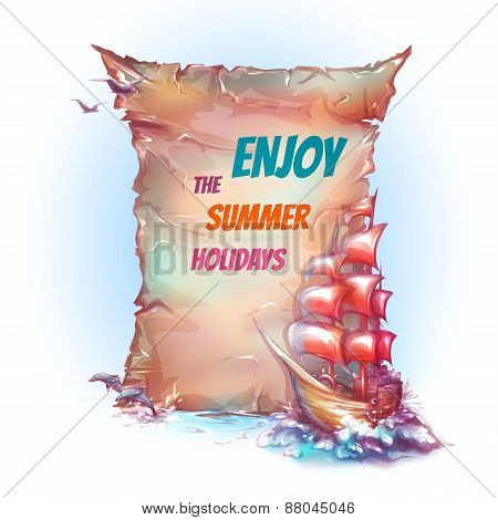 Vector banner with sail ship in ocean