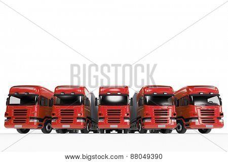 Red truck fleet of forwarding agency (3D Rendering)