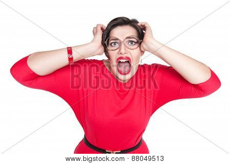 Scared Screaming Beautiful Plus Size Woman In Red Dress Isolated