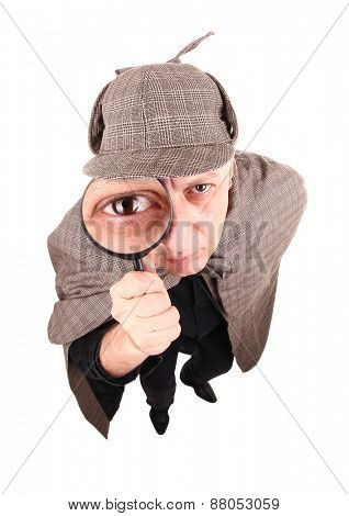 Detective investigates with magnifying glass