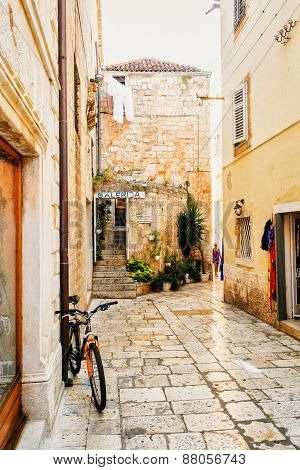Hvar, Croatia - August 12: The Narrow Stone Streets On The Island Of Hvar Attract Tourists On August