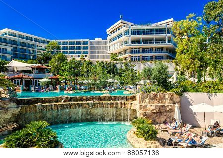 Hvar, Croatia - August 11: Hotel Amfora In Town Of Hvar On The Island Of Hvar In Croatia Attracts Ma