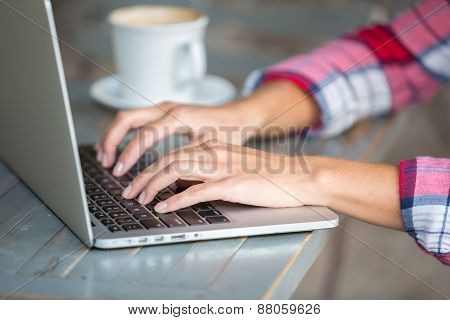 Laptop Typing Hands