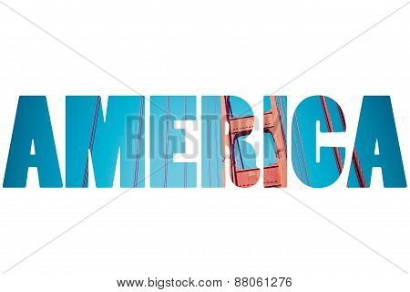 Word America Over Traditional Symbols.