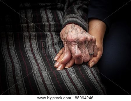 Aged Hand Holding Young Hand