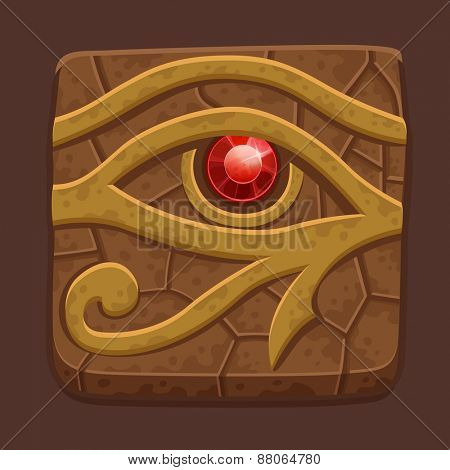 Egyptian eye stone slab. Vector illustration