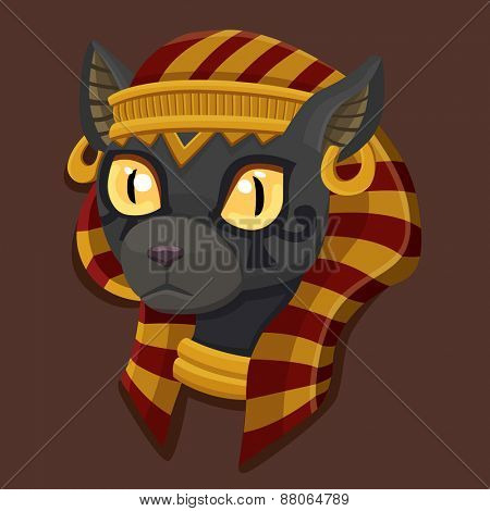 Icon head Bastet. Vector illustration