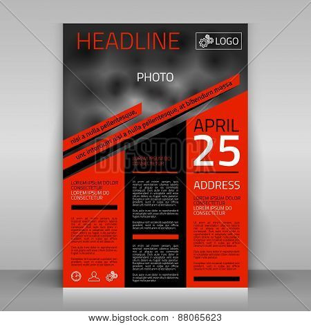 Business Flyer with Orange and Black Elements.