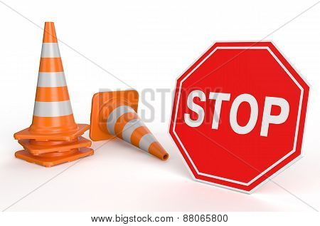 Traffic Cones And Sign Stop
