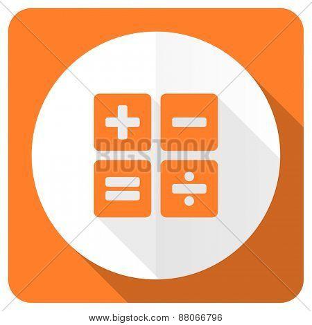 calculator orange flat icon calc sign