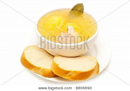 Chicken And Potato Soup Isolated