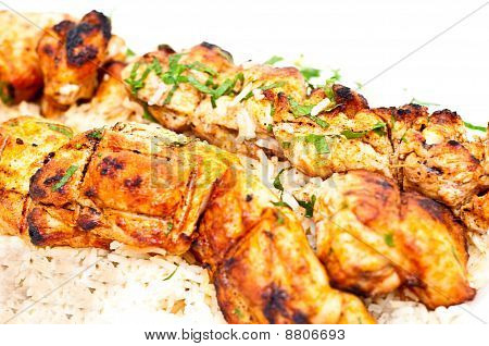 Grilled Chicken With Rice Isolated
