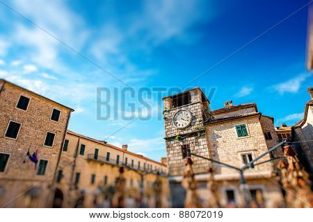 Clock tower in Kotor old city in Montenegro poster