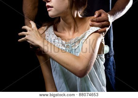 Woman Struggling Against Abusive Man