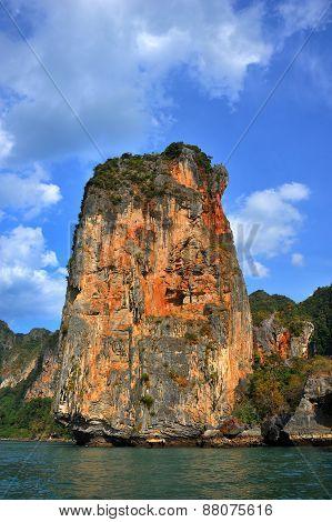 Orange Cliff In Thailand