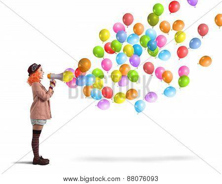 Clown screams balloons