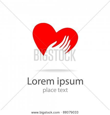 heart in hands - vector symbol, template for design logo