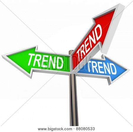 Trend word on three arrow signs pointing you in the direction of hot or new trending topics, products or news