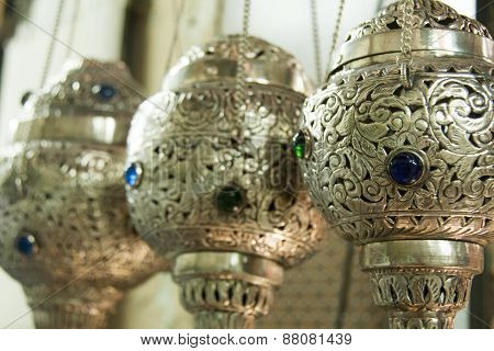 Rows of Incense burners