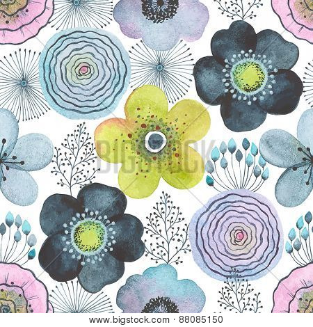 Seamless watercolor abstraction floral pattern on white background in vintage style.