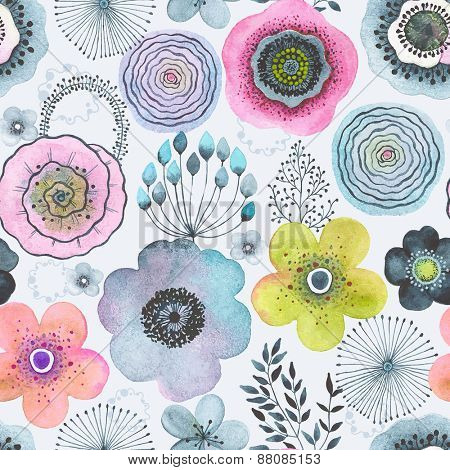 Seamless watercolor abstraction floral pattern in vintage style.