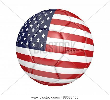 Soccer ball, or football, with the country flag of the United States