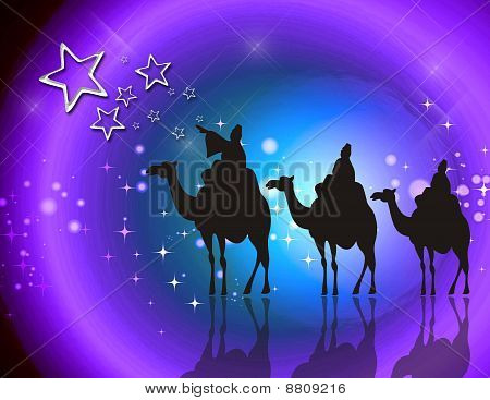 Illustration of Christmas, with the three kings of Orient