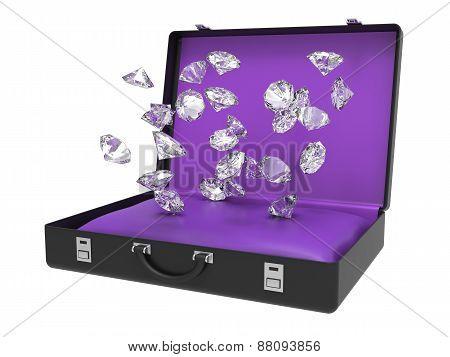 Diamonds Falling Inside Suitcase 3D