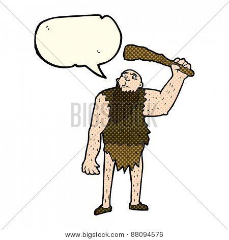 cartoon neanderthal with speech bubble