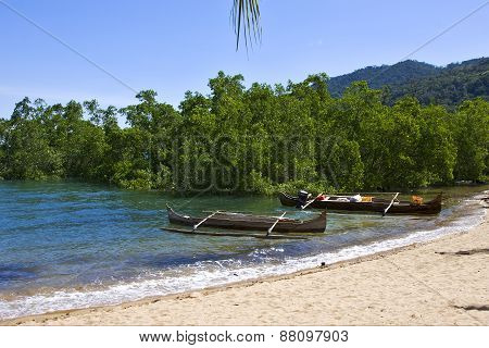 madagascar nosy be rock stone branch boat palm lagoon and coastline poster