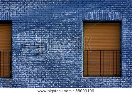 Yellow Window In Light Blue Wall In The Centre Of La Boca