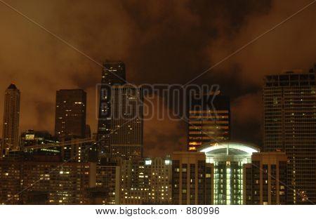 Chicago Skyline In Night Clouds