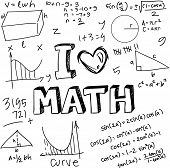 Vector illustration of math formulas drawn with doodle style isolated on white poster