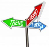 Trend word on three arrow signs pointing you in the direction of hot or new trending topics, products or news poster