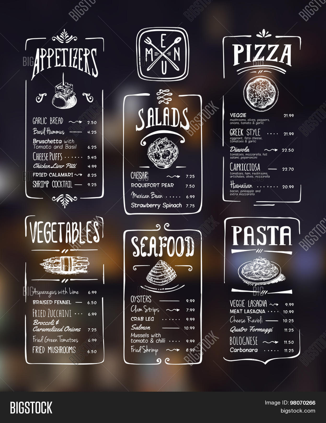 Menu Template White Drawing On Dark Background Appetizers Vegetablessalads Seafood