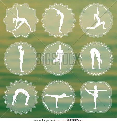 Yoga logo with silhouettes of girls