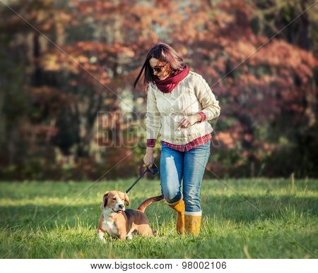 Woman walk with dog