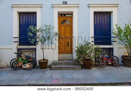 Bicycles in front of a home on Rue Cremieux in Paris, France
