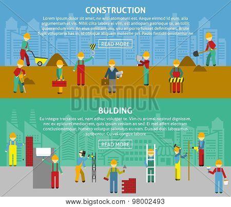 Building Flat Horizontal Banner Set