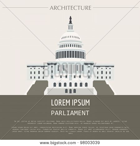Cityscape graphic template. Modern city architecture. Vector illustration of Parliament building